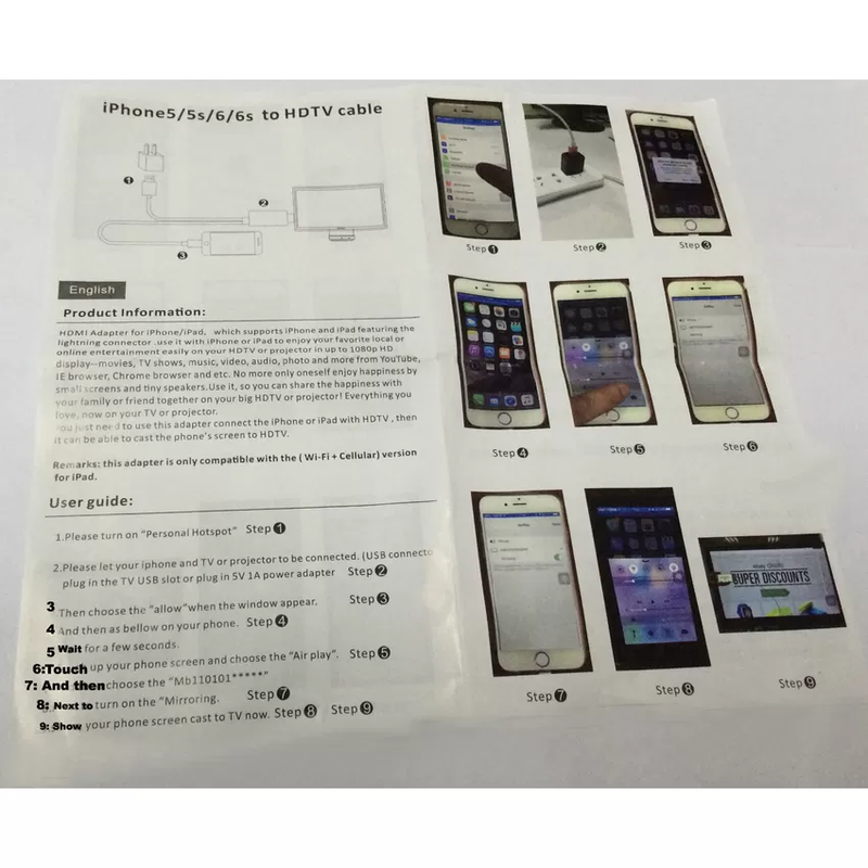 Cáp Lighting HDMI cho iPhone 5,5S 6,6S,6Plus iPad Mini 2 iPad Air 3