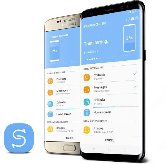 Old smartphone standing next to Galaxy S8 with the Smart Switch app on both screens