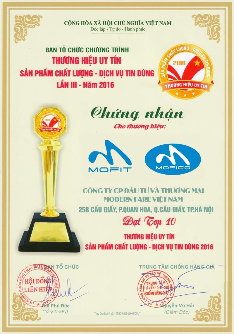 bang chung nhan top 10 mofit