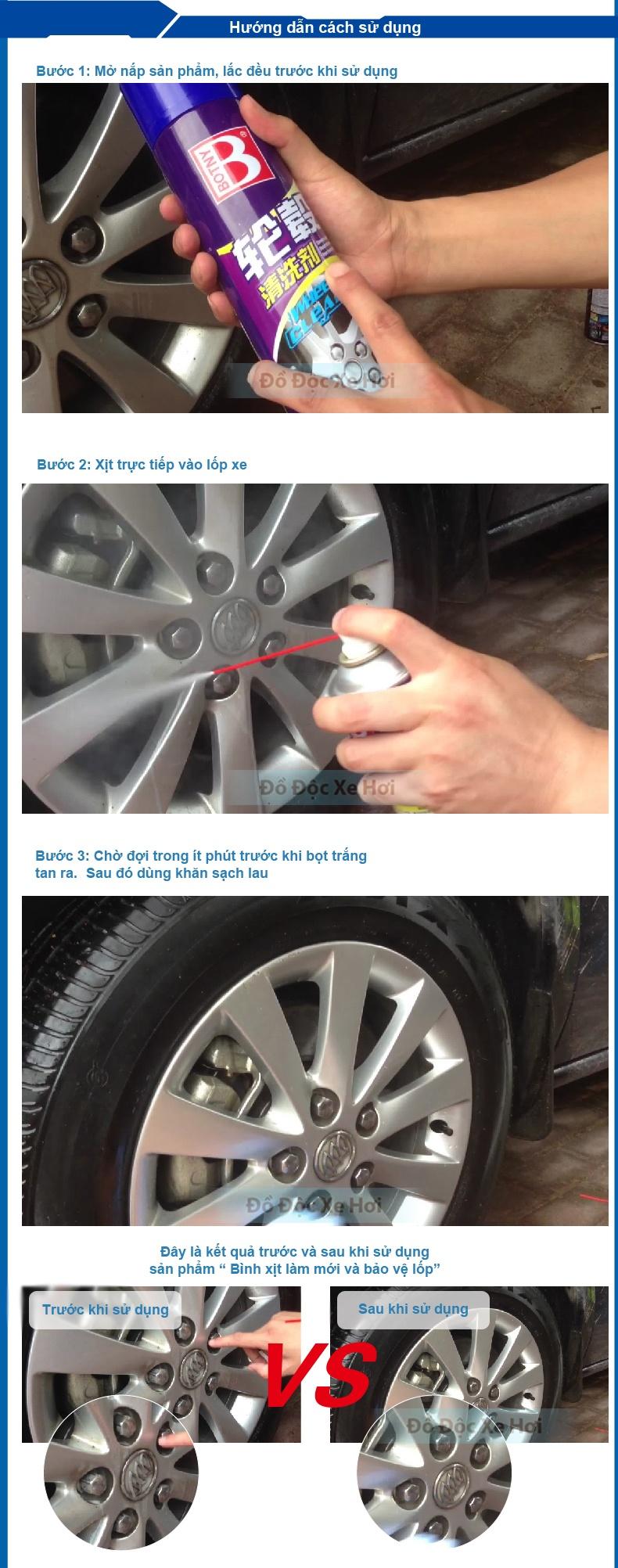 Làm mới lốp với Bình xịt làm mới và bảo vệ lốp