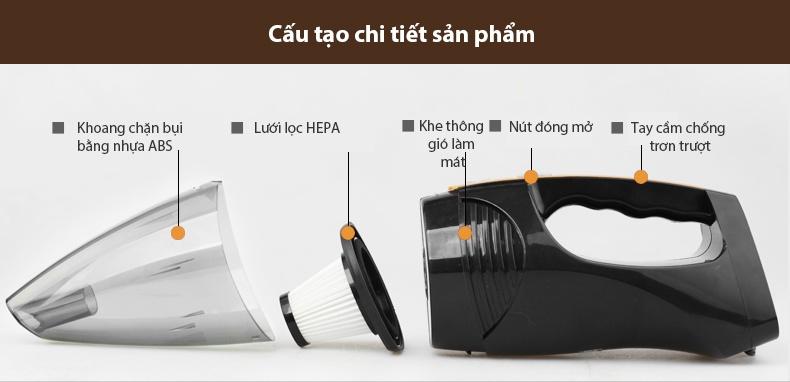 Cấu Tạo Chi Tiết Máy Hút Bụi Cầm Tay Mini TVT-012102 Mini 12v