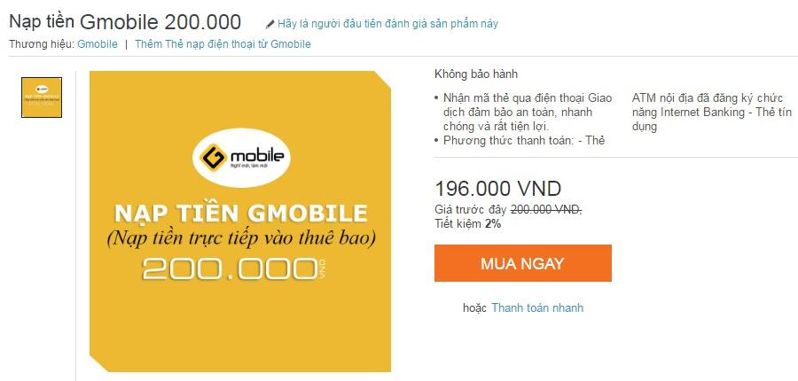Nạp tiền điện thoại vietnammobile