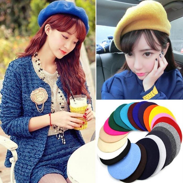 Chi ti t v LALANG Women Beret Cap Vintage Solid Color Beanie Hat Classic .