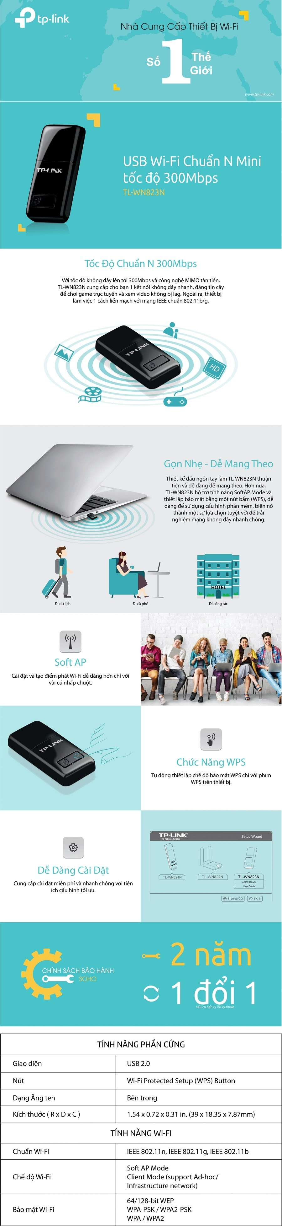 Tp Link Tl Wn823n Usb Kt Ni Wi Fi Chun N 300mbps Nh Gn Hng Wn 823n Specifications Of Phn Phi Chnh Thc