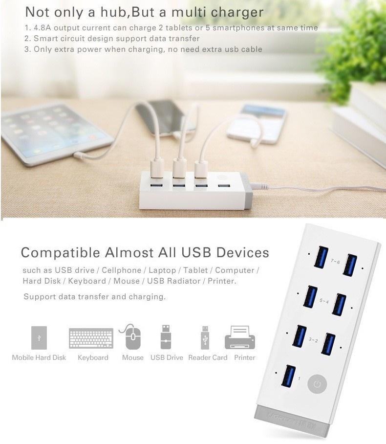 Hub 7 cổng USB 3.0 kèm sạc điện thoại, máy tính bảng Ugreen UG-20296 1