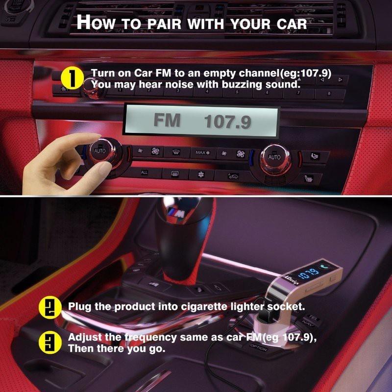 Sạc CAR G7 CAO CẤP , KẾT NỐI BLUETOOTH, NGHE NHẠC MP3 TỪ USB, THẺ NHỚ 10
