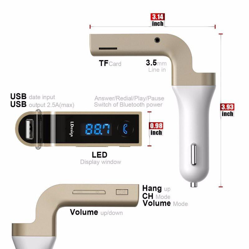 Sạc CAR G7 CAO CẤP , KẾT NỐI BLUETOOTH, NGHE NHẠC MP3 TỪ USB, THẺ NHỚ 7