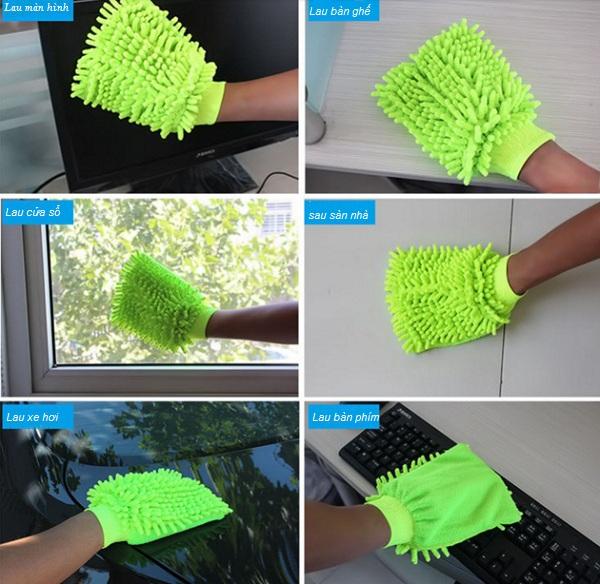 Bộ 2 găng tay lau rửa xe siêu mềm thấm hút tốt chuyên dụng cho ô tô xe máy (Màu ngẫu nhiên) 6