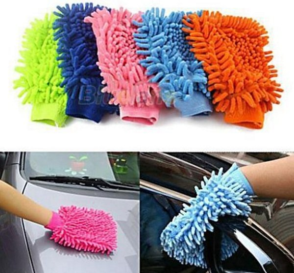 Bộ 2 găng tay lau rửa xe siêu mềm thấm hút tốt chuyên dụng cho ô tô xe máy (Màu ngẫu nhiên) 2