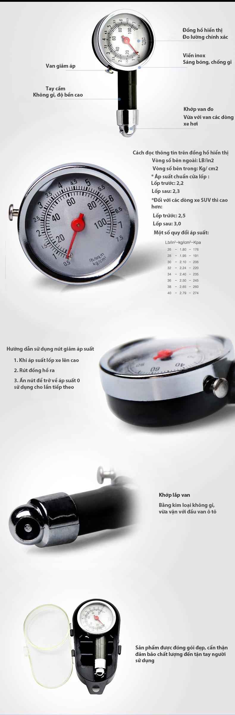 đồg hồ đo áp suất lốp xe hơi