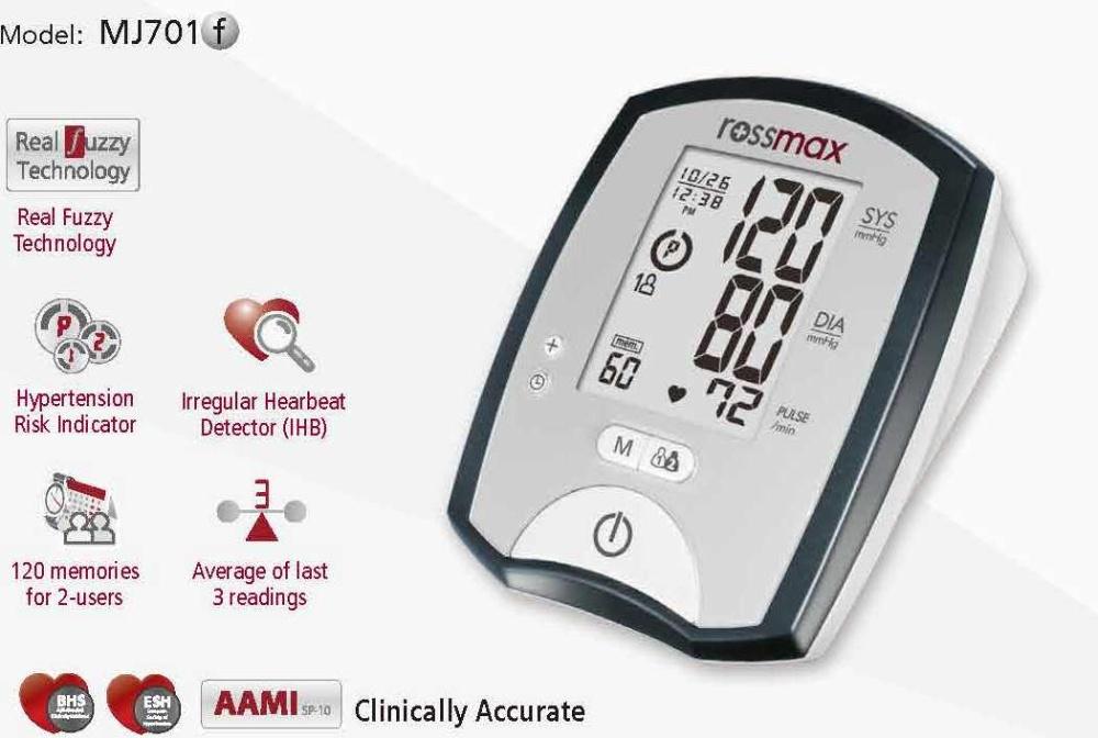 Máy đo huyết áp Rossmax model MJ701 có tính năng đa dạng