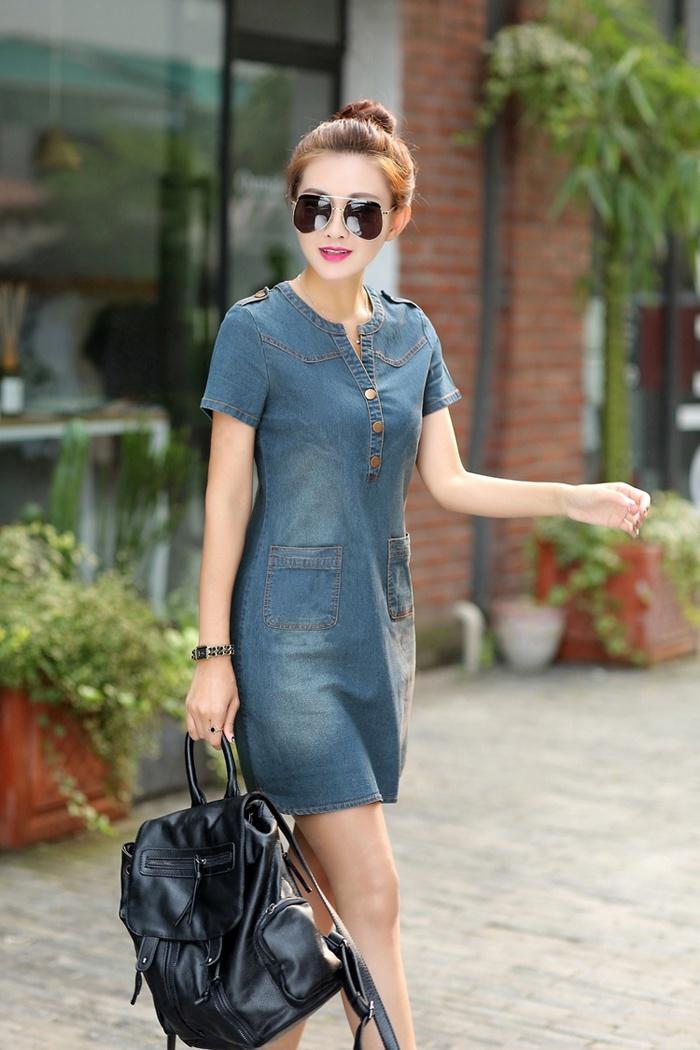 Đầm jean dạo phố cổ trụ 2 túi Beyeu1688 BY6019(xanh đậm)