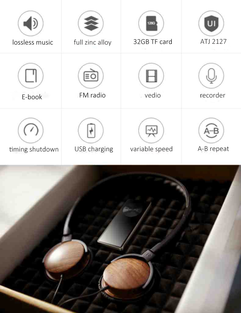 BENJIE factory price 8GB USB digital mp3 player with TF card slot