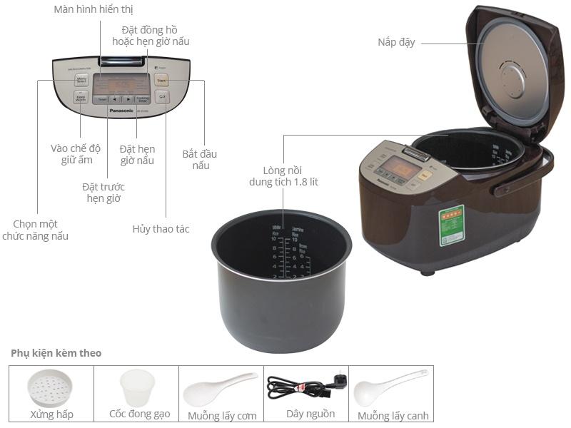 Thông số kỹ thuật Nồi cơm điện Panasonic 1.8 lít SR-ZS185TRAM