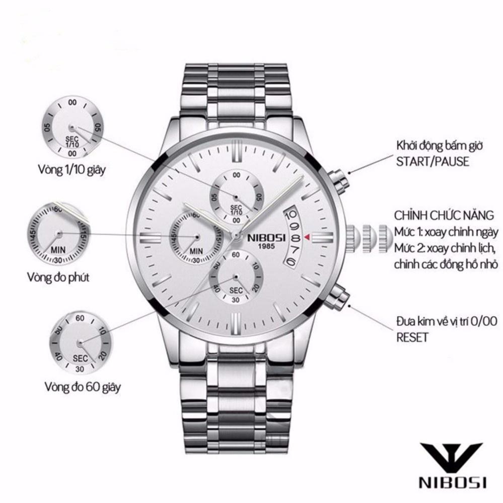 Đồng hồ nam dây thép không gỉ chạy 6 kim NIBOSI 1001