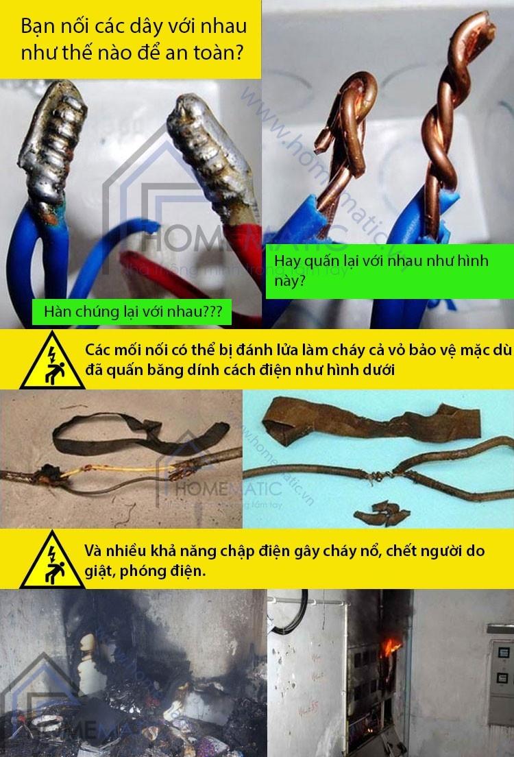Nguy cơ mất an toàn điện từ các mối nối dây điện