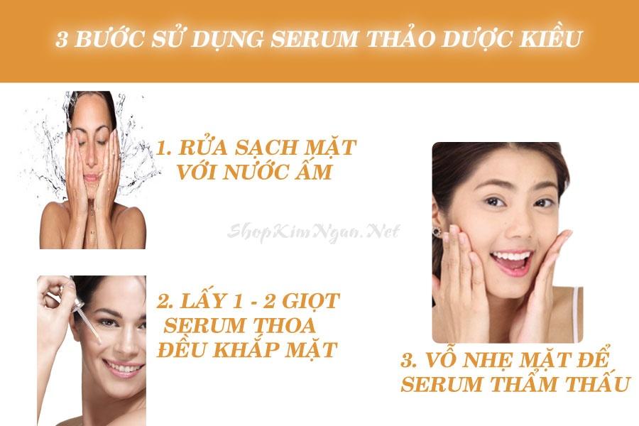 Hướng dẫn sử dụng sản phẩm Serum Thảo Dược Kiều Beauty Queen