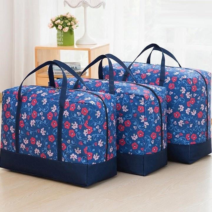 Set 3 túi đựng quần áo chăn màn vải họa tiết 6