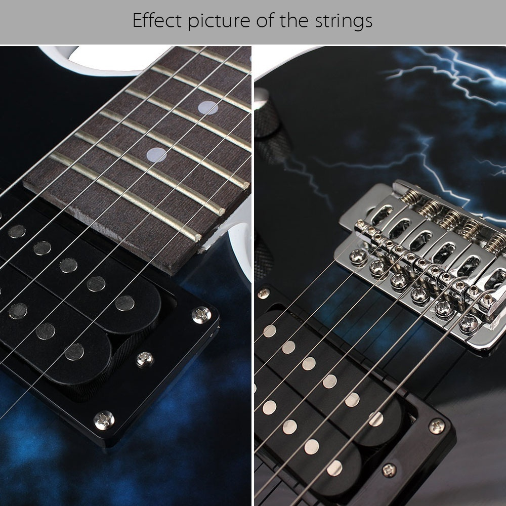 Features: 1st-6th 6pcs strings, suitable for electric guitar. Qualified steel, nickel alloy wound.