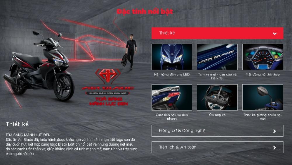Xe Honda Air Blade phiên bản thể thao 2017 Xám đen (Tặng Nón bảo hiểm, Bảo hiểm xe máy, Thảm xe máy)