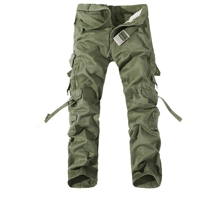 2017 New Men Cargo Pants Army Green Big Pockets Decoration Mens Casual Trousers Easy Wash Male Autumn Army Pants - intl