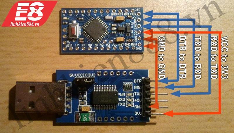 Arduino Pro Mini kết nối PL2303