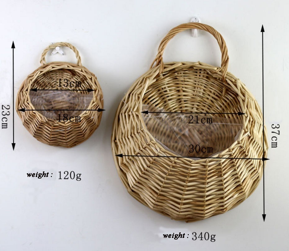 2 pcs Natural Wall Mounted Planter Pot Hanging Garden Flower Hydroponic Soil Basket(Khaki) - intl