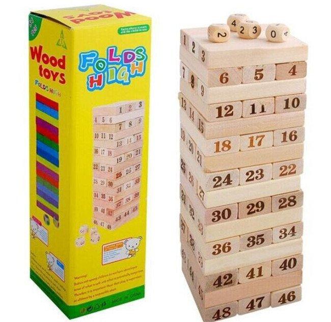 Đồ chơi rút gỗ loại lớn 48 miếng và 6 xúc xắc (hạt xí ngầu)