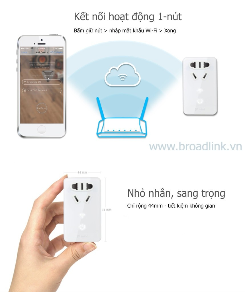 Ổ cắm thông minh Wifi Broadlink SP-Mini dễ dàng sử dụng