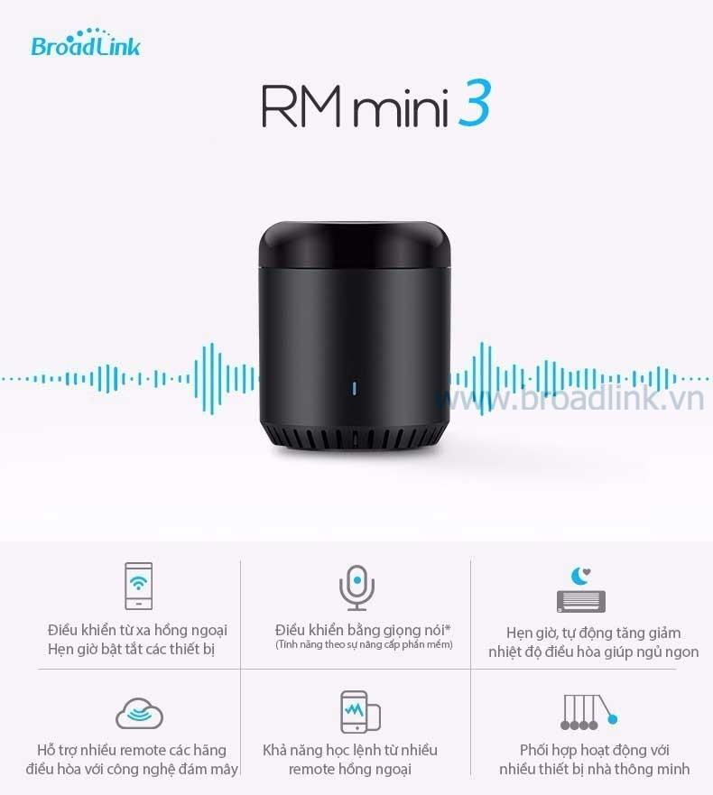 Các tính năng Bộ điều khiển mở rộng hồng ngoại Broadlink RM Mini 3