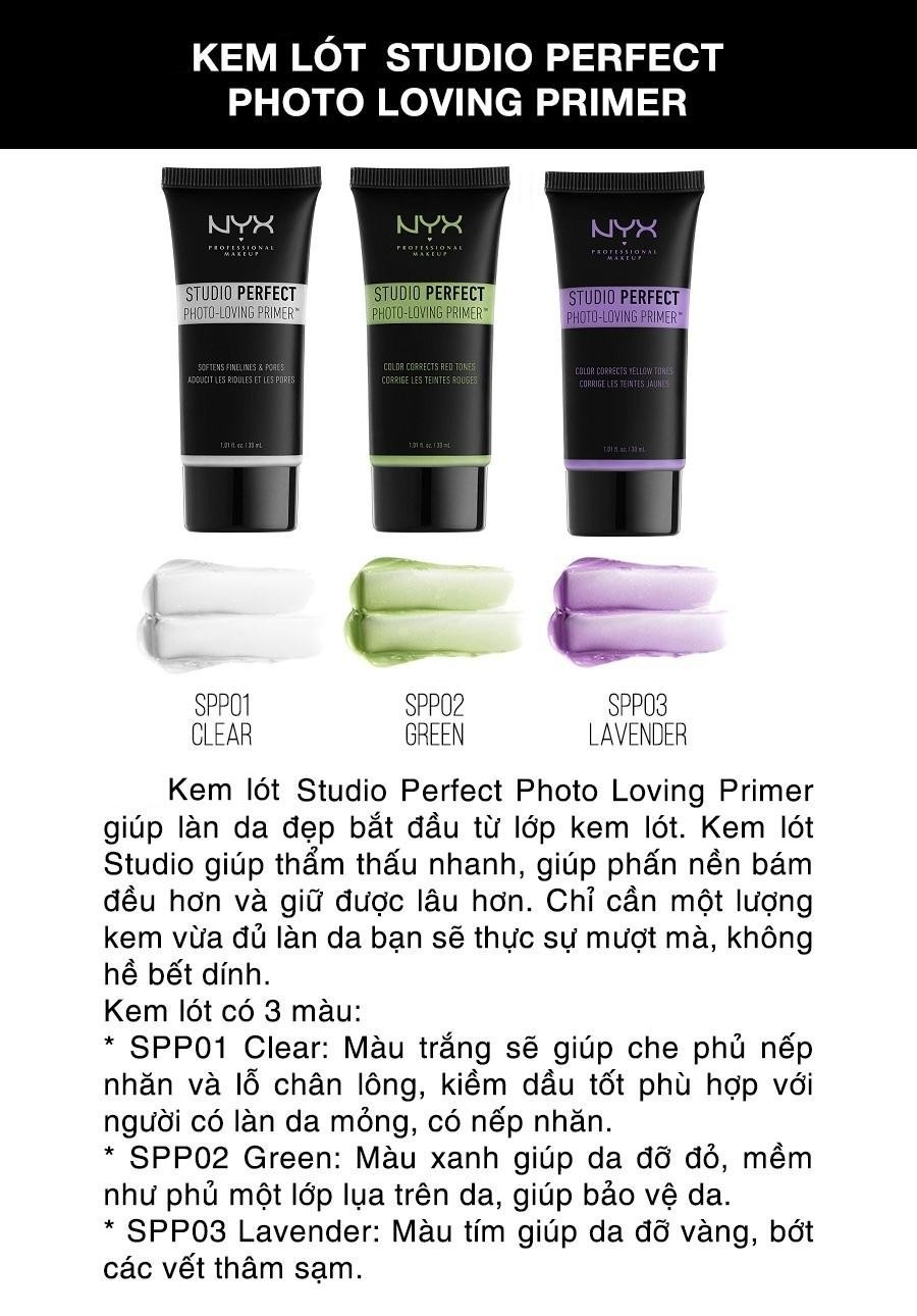 Kem lót NYX Professional Makeup Studio Perfect Primer SPP02 Green 30ml (Xanh lá)