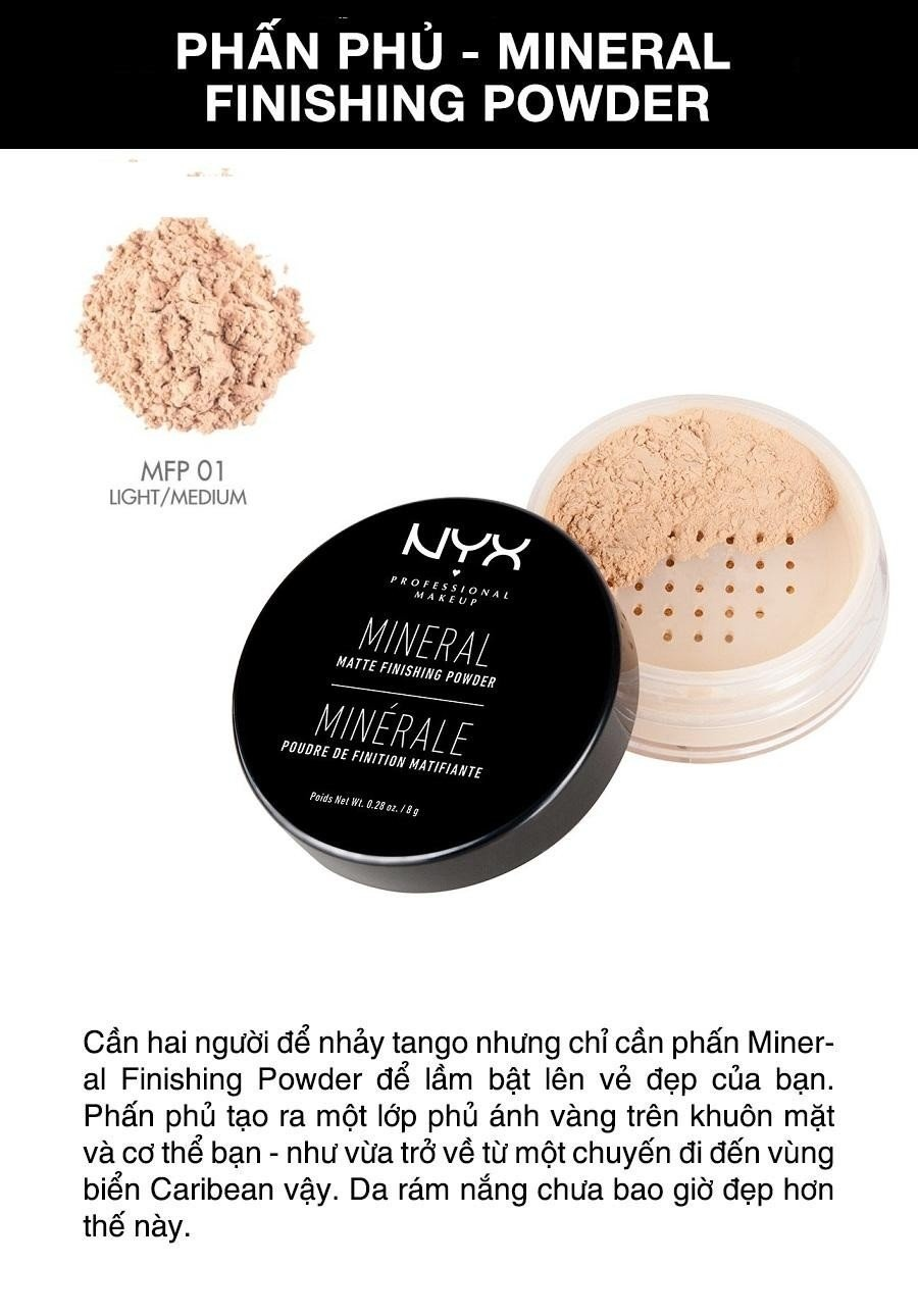Phấn phủ dạng bột NYX Professional Makeup Mineral Finishing Powder MFP01 Light/Medium