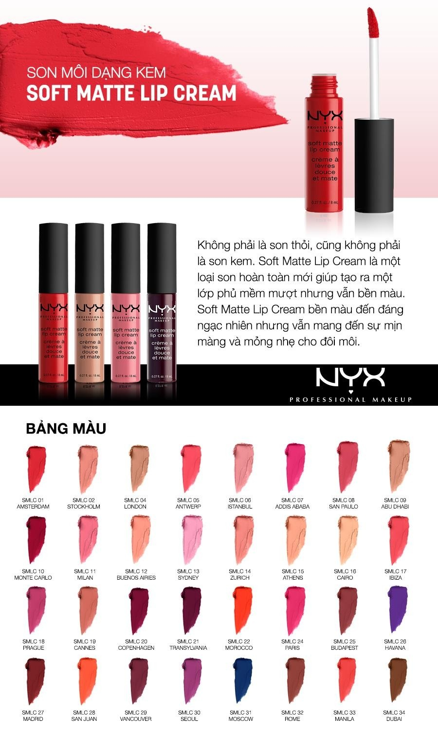 Son kem lì NYX Professional Makeup Soft Matte Lip Cream SMLC30 Seol
