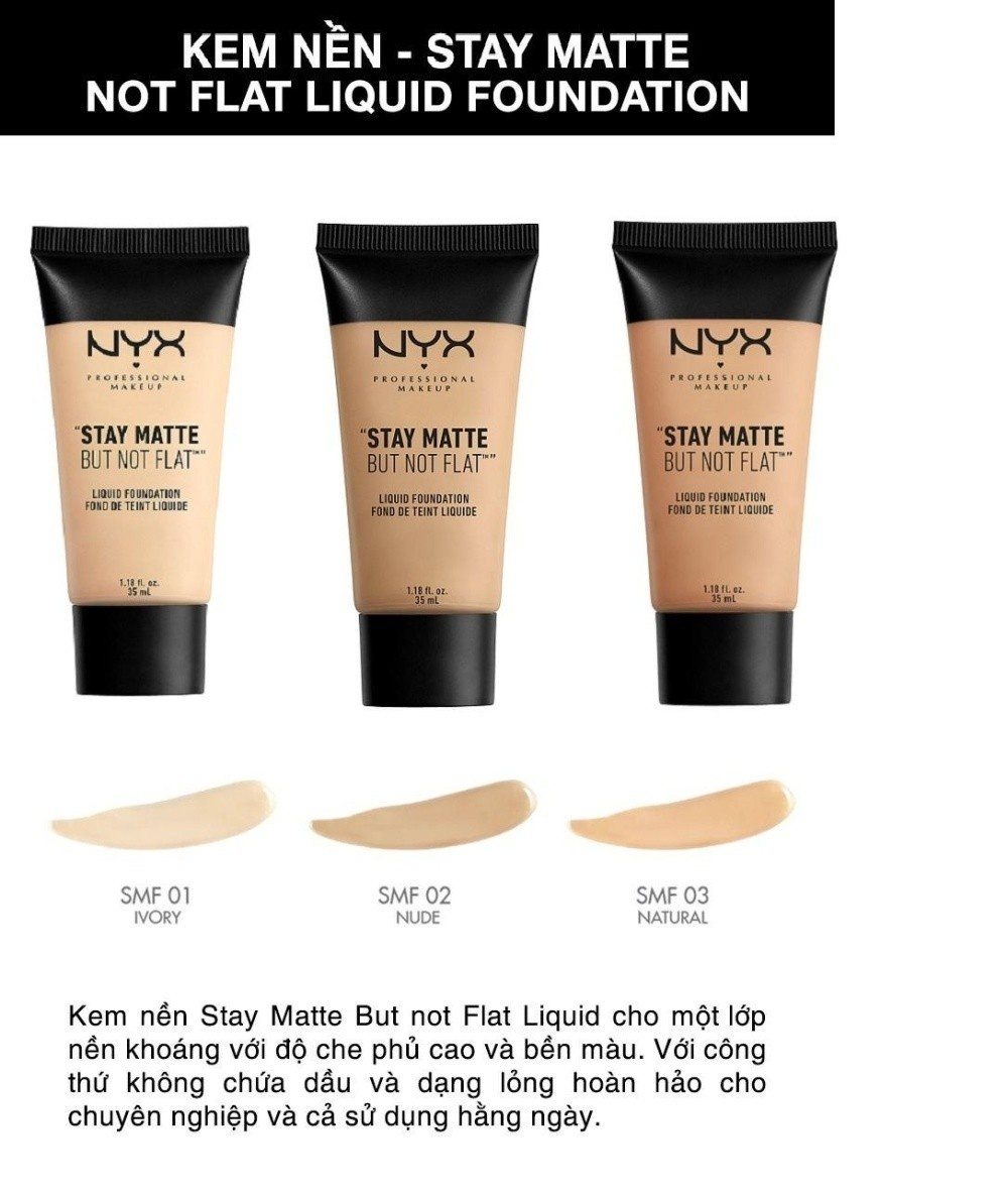 Kem nền NYX Professional Makeup Stay Matte But Not Flat Liquid Foundation SMF01 Ivory