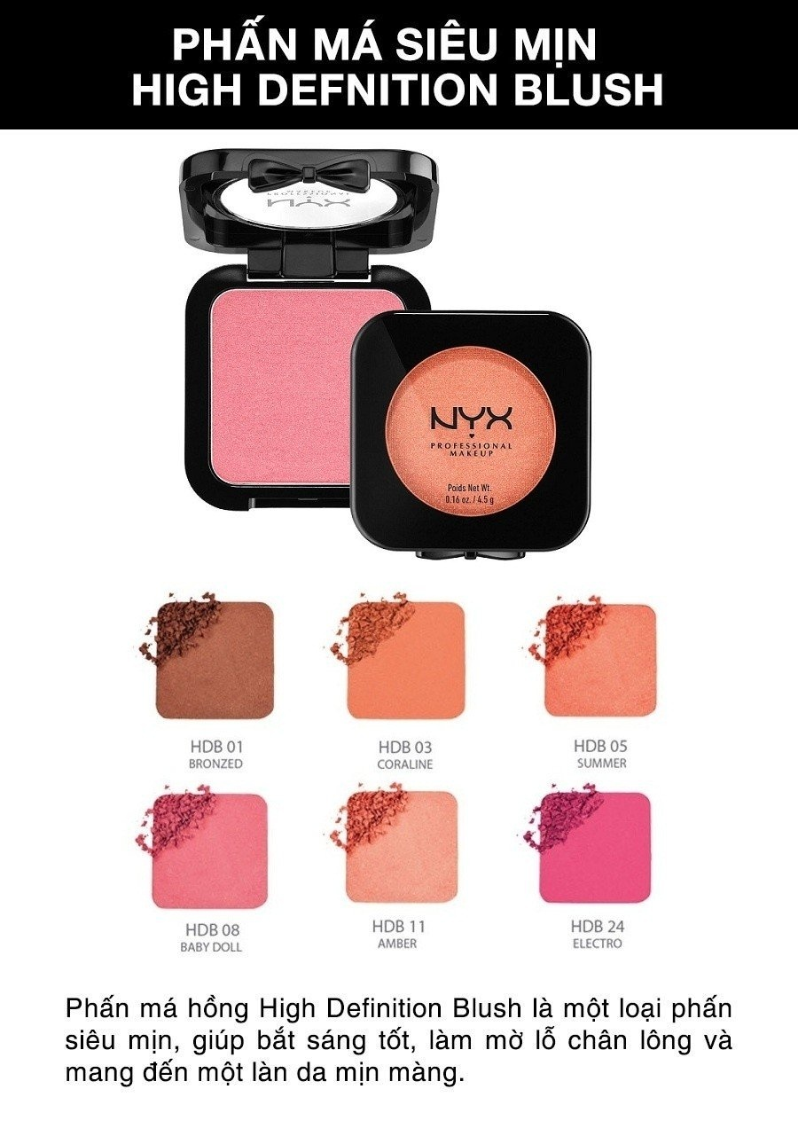 Phấn má hồng NYX Professional Makeup High Definition Blush HDB16 Beach Babe