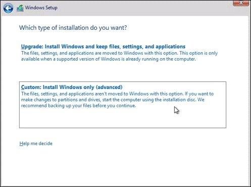 Lựa chọn cài đặt Windows