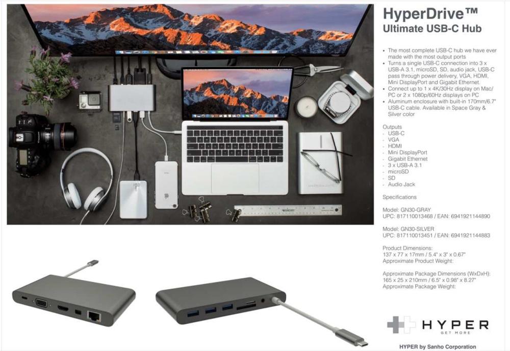 Cổng chuyển Hyperdrive Ultimate USB-C Hub cho MacBook, PC & các thiết bị HDMI, VGA, Gigabit Ethernet, Mini DisplayPort, Thunderbolt 3, USB-C, micro SD, SD, 3 x USB 3.1, audio jack HyperDrive – Review sản phẩm