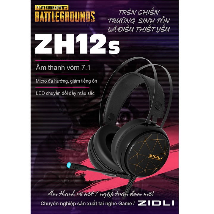 ... âm thanh vòm 7.1, led đổi màu, dùng nghe nhạc, chơi game. Trên chiến  trường sinh tồn là điều thiết yếu, tai nghe Zidli ZH12S giúp bạn tăng khả  năng sinh ...