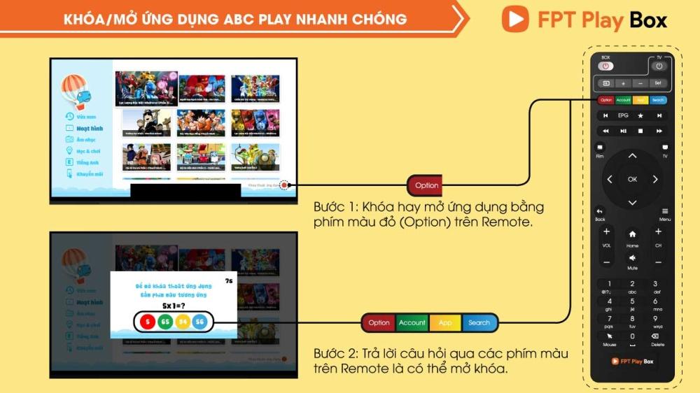 Khóa/Mở ứng dụng ABC Play nhanh chóng trên FPT Play Box 2018