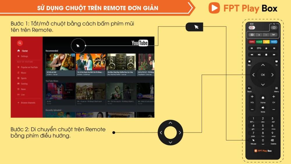 Sử dụng chuột Remote đơn giản của FPT Play Box 2018