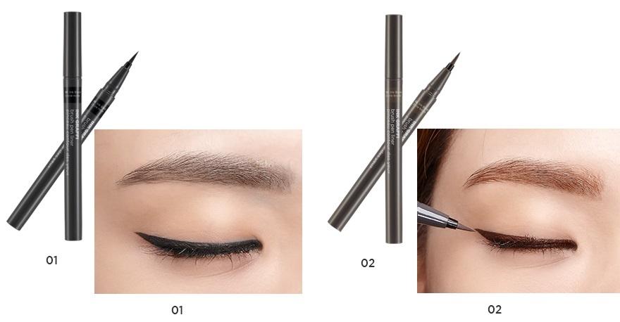 Bút kẻ mắt The Face Shop Ink Graffi Brush Pen Liner với thiết kế nhỏ 0.05mm đầu bút  kẻ mắt mềm
