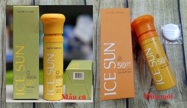 Kem chong nang ICE SUN SPF50+ - Nature republic ice puff sun (1)