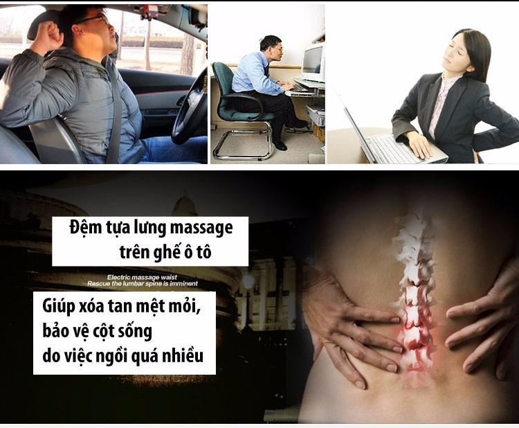 Tựa Lưng Massage Oto-Sọc Đen Đỏ 3