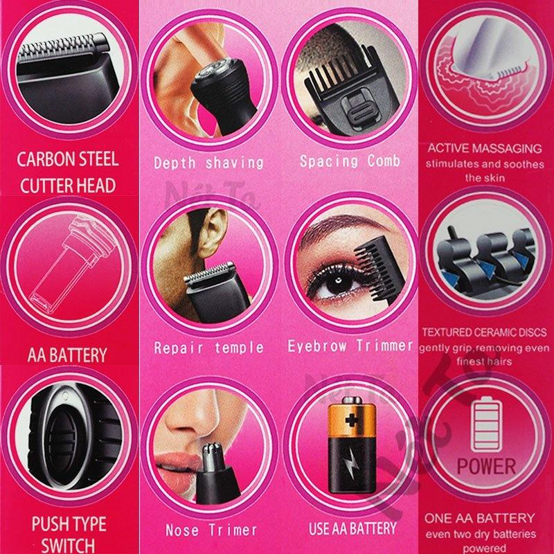 Máy tỉa lông mũi, râu, lông mày đa năng 4in1 dùng pin Kemei KM-PG500