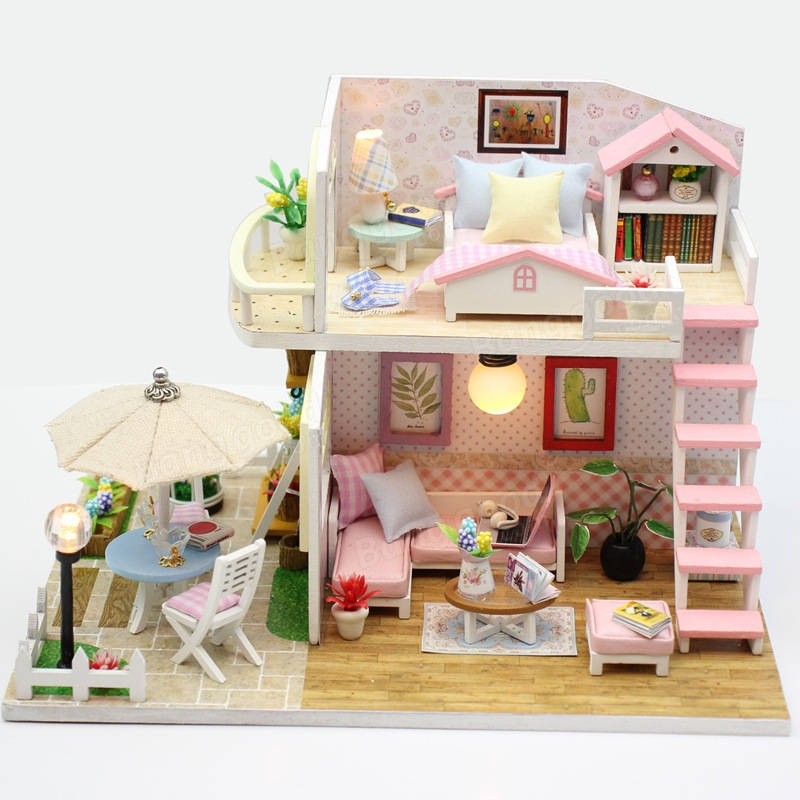 Hoomeda M033 Pink Loft DIY House With Furniture Music Light Cover Miniature Decor Toy