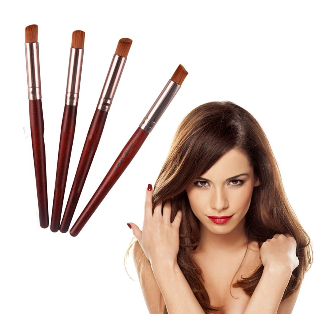 4pcs Red Wooden Foundation Blush Makeup Brushes + 4pcs Purple Black Plastic - intl