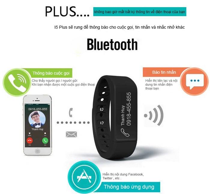 Đồng hồ thông minh chống thấm I5 Plus - đen 1
