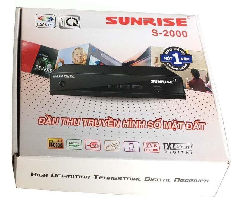 Đầu thu DVB T2 Sunrise S-2000 Kèm Anten và 10m cáp đồng trục 1