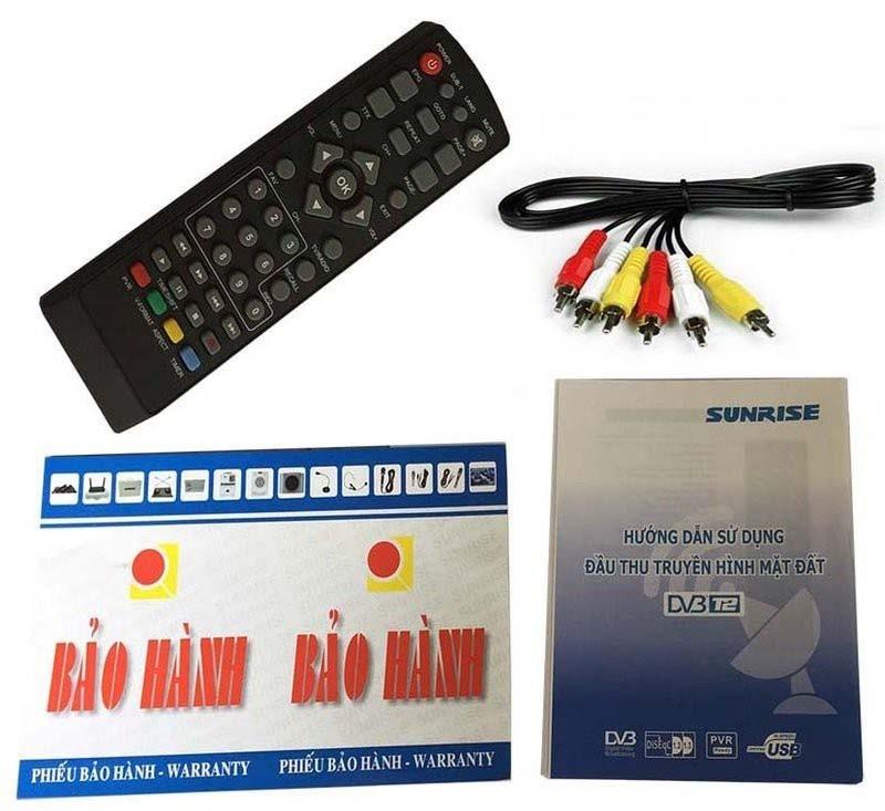 Đầu thu DVB T2 Sunrise S-2000 Kèm Anten và 10m cáp đồng trục 4