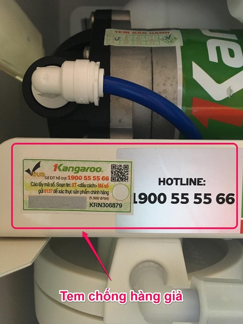 Xác thực máy lọc nước chính hãng Kangaroo bằng tem điện tử SMS.